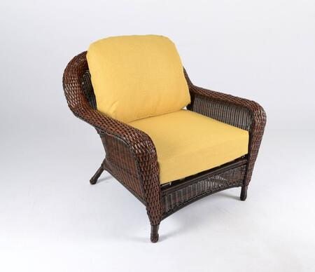 Sea Pines Collection LEX-C1-J-RAVEL Club Chair in Java Wicker and Rave Lemon Fabric