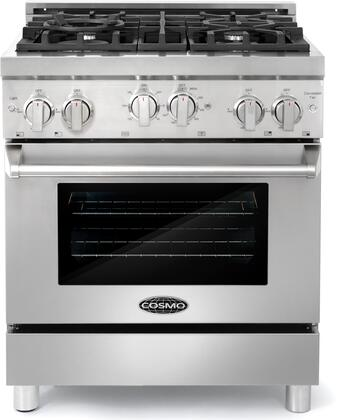 COS-GRP304 30″ Stainless Steel Gas Range with 4 Sealed Burners  3.9 cu. ft. Oven Capacity  Dual Convection Fan  Oven Lights  Cast Iron