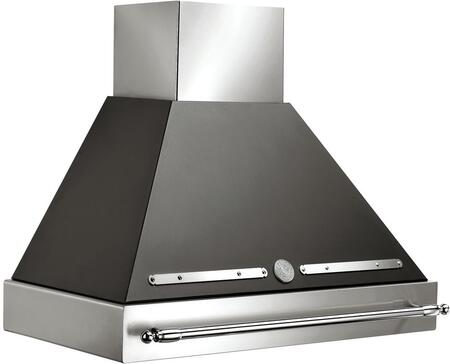Bertazzoni Heritage K36HERX14 Wall Mount Range Hood Stainless Steel, Shown with Black Canopy