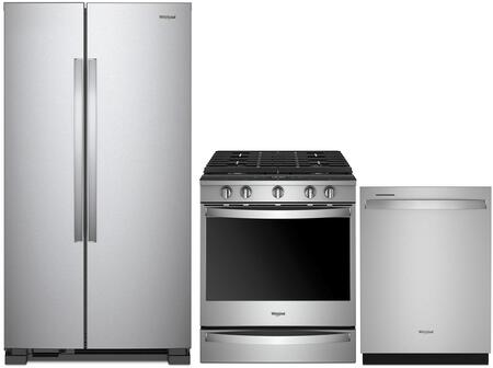 3 Piece Kitchen Appliances Package with WRS312SNHM 33″ Side by Side Refrigerator  WEG750H0HZ 30″ Gas Range and WDT970SAHZ 24″ Built In Fully