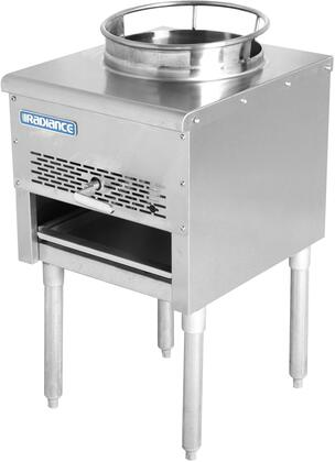 TAWR-13-JB 18″ Heavy Duty Wok Range with 13″ Opening  125 000 BTU Output  Continuous Pilot and Galvanized Legs in Stainless