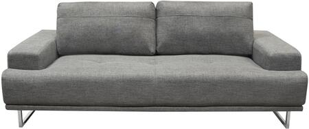 "Russo_Collection_RUSSOSOGR_88""_Sofa_with_Fabric_Upholstery__Adjustable_Seat_Backs_and_Polished_Chrome_Metal_Legs_in_Space"