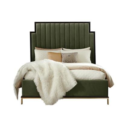 Formosa Collection 222821KW 90.25″ California King Bed with Upholstered Platform Base  Wood Framed Upholstered Sectioned Headboard and Beautiful Wood