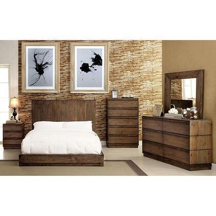 Furniture of America Amarante CM7624KBDMCN Bedroom Set Brown, Main Image