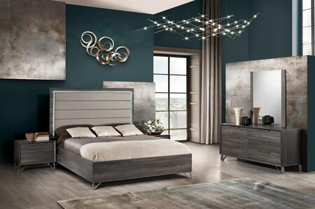 Amalfi Collection AMALF-QNBDM2N-MGR-43 5-Piece Bedroom Set with Queen Bed  Dresser  Mirror and 2x Nightstands in Matt Gray