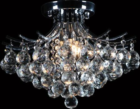 BET02CH 3-Light Flush Mount with Metal and Crystal Materials and 60 Watts in Chrome