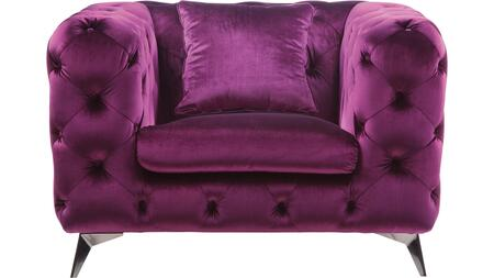 Atronia Collection 54907 Chair  Button Tufted  Pocket Coil Seat  Wood Inner Frame  Metal Tapered Leg  in Purple