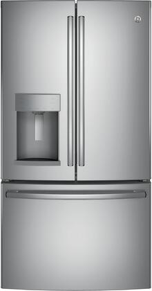 GE  GFD28GYNFS French Door Refrigerator Stainless Steel, GFD28GYNFS Front View