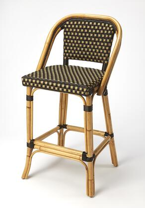 Lila Collection 3715398 Bar Stool with Transitional Style  Rectangular Shape and Rattan Material in Chocolate Rattan