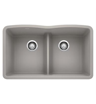 Diamond 442746 Silgranit Undermount Sink Equal Double Sink Bowl with Low Divide  in Concrete