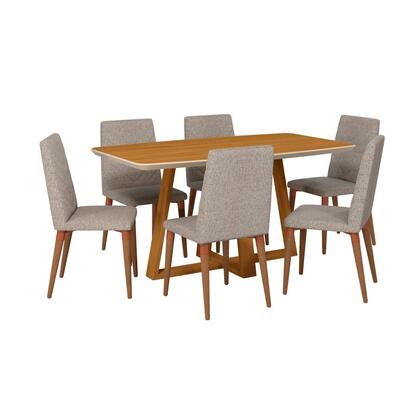 Duffy and Utopia Collection 2-1018451109253 7 PC Dining Set with Contemporary Modern Style  Medium-Density Fiberboard (MDF) Frame  Pine Wood Feet and