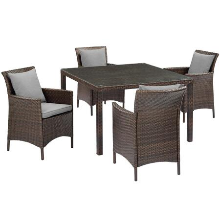 Conduit Collection EEI-3893-BRN-GRY-SET  5 Piece Outdoor Patio Wicker Rattan Set with Powder-Coated Aluminum Frame  Synthetic PE Rattan Weave and