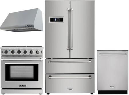 4 Piece Kitchen Appliances Package with HRF3601F 36″ French Door Refrigerator  LRG3001U 30″ Gas Range  HRH3005U 30″ Under Cabinet Ducted Hood and