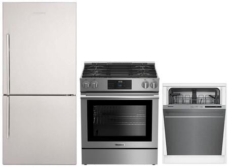 """3-Piece Kitchen Appliances Package with BRFB1822SSN 30"""" Bottom Freezer Refrigerator BGR30420SS 30"""" Slide-in Gas Range and DWT51600SS 24"""" Built In"""