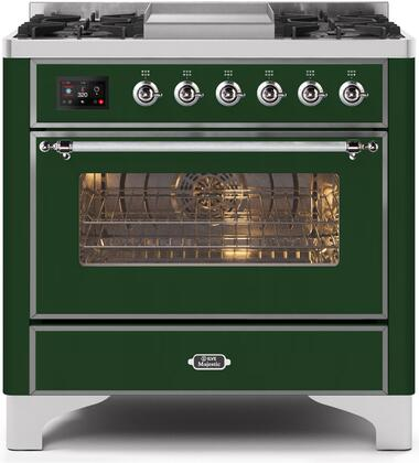 UM09FDNS3EGC 36″ Majestic II Series Dual Fuel Natural Gas Range with 6 Burners and Griddle  3.5 cu. ft. Oven Capacity  TFT Oven Control Display