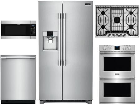 5 Piece Kitchen Appliances Package with 36″ Side by Side Refrigerator  30″ Electric Double Wall Oven  30″ Gas Cooktop  24″ Built In Microwave and 24″