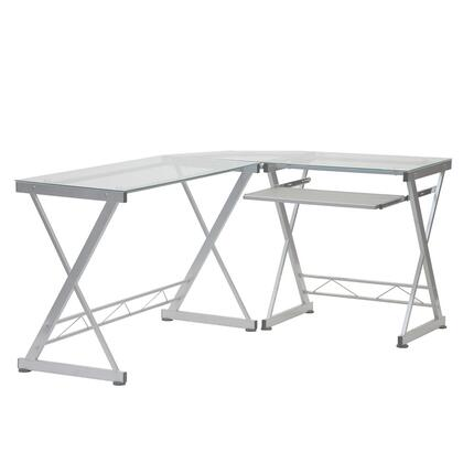 RTA-3802-GLS L-Shaped Tempered Glass Top Computer Desk with Pull Out Keyboard Panel  in