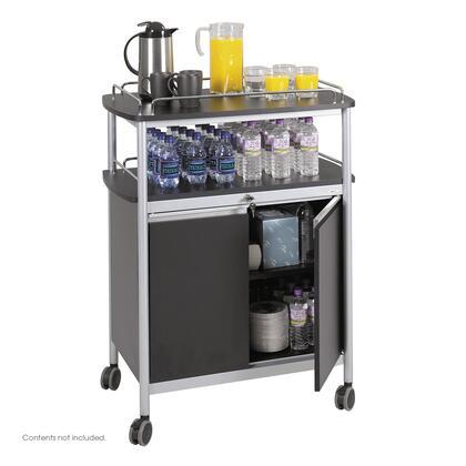 Safco 8964BL Commercial Food and Beverage Service Carts Black, 8964BL DoorOpen 29269