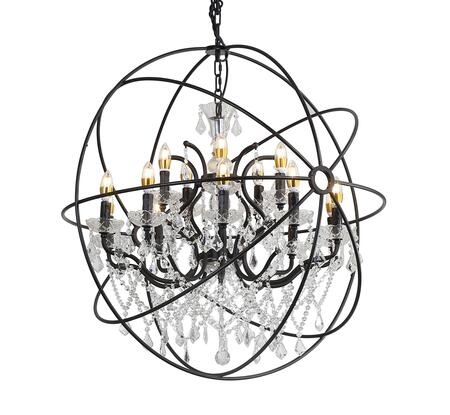 9849/10+5P 15-Light Chandelier with Metal and Crystal Materials and 40 Watts in Rustic Brozne