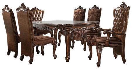 Acme Furniture Versailles 611107TC Dining Room Set Brown, 7 PC Set