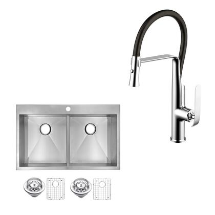 CF511-TD-3322A 33″ X 22″ Zero Radius 50/50 Double Bowl Stainless Steel Hand Made Drop In Kitchen Sink With Drains  Strainers  Bottom Grids  And