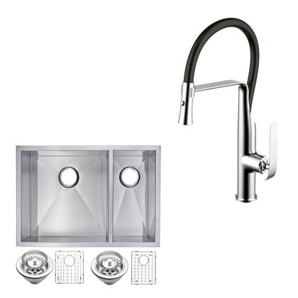 CF511-UD-2920A 29″ X 20″ Zero Radius 70/30 Double Bowl Stainless Steel Hand Made Undermount Kitchen Sink With Drains  Strainers  Bottom Grids  And