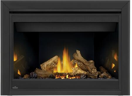 Napoleon Ascent B46NTR Fireplace Black, Logs, MIRRO FLAME Panels, 3 inch Premium Beveled Trim