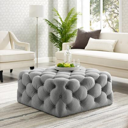 Ramon Collection ON93-03LG-AC Ottoman with Tufted Allover  Castered Legs and Linen Fabric Upholstery in Light Grey