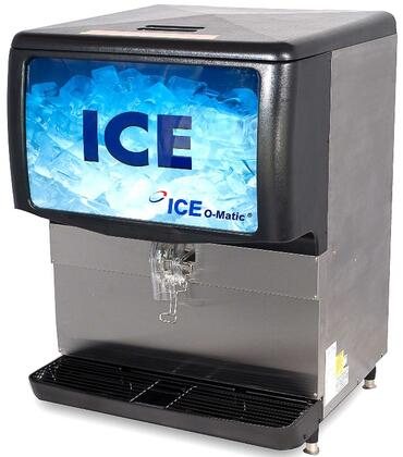 Ice-O-Matic  IOD250 Ice Bins and Dispenser Stainless Steel, Angled View of the Front and Side