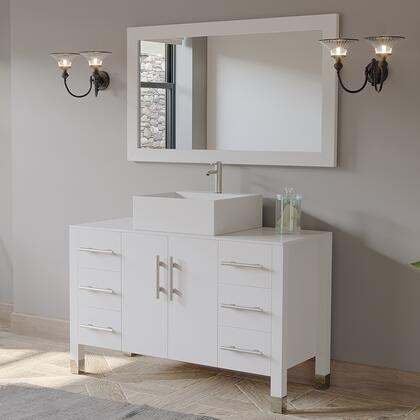 8116W-BN 48″ White Bathroom Vanity set with Brushed Nickel Faucet and