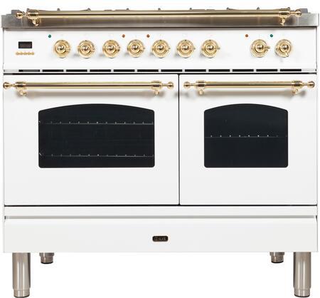 Ilve Nostalgie UPDN100FDMPBLP Freestanding Dual Fuel Range White, UPDN100FDMPBLP Liquid Propane Range