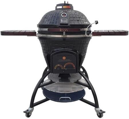 CG701BLACK 55″ 700 Series Kamado Grill on Storage Cart with 714 sq. in. Cooking Area  Pull-Out Ash Drawer  Color-Coded HeatZone Electric Starter Port