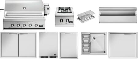 10 Piece Outdoor Kitchen Equipment Package with BH136RN 36″ Built-In Natural Gas Grill  BGC132BIN 15″ Gas Side Burner  RF24RE3 24″ Compact