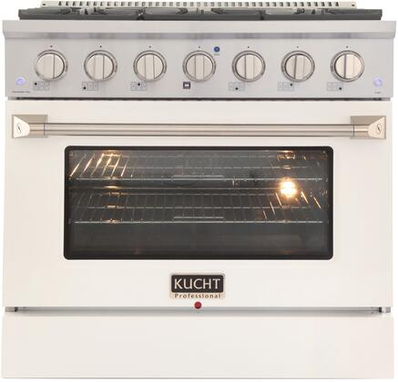 KNG361-W 36″ White Freestanding Natural Gas Range with 6 Burners  5.2 cu. ft. Capacity Oven  Manual Convection Cooking Mode  Blue Porcelain Oven