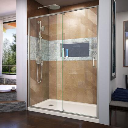 DL-6222L-22-04 Flex 30″ D x 60″ W x 74 3/4″ H Semi-Frameless Shower Door in Brushed Nickel with Left Drain Biscuit Base