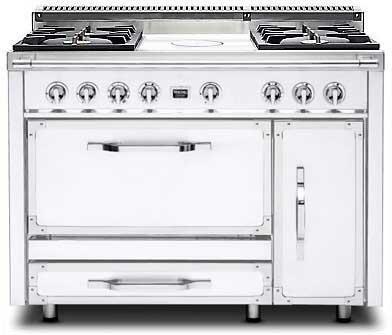 Viking Tuscany TVDR4804FAW Freestanding Dual Fuel Range White, Main Image