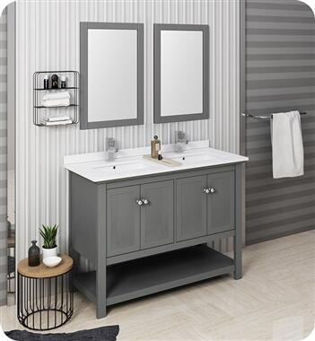 Manchester Collection FVN2348VG-D Regal 48″ Grey Wood Veneer Traditional Double Sink Bathroom Vanity with