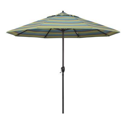 Casa Collection ATA908117-56096 9′ Patio Umbrella With Bronze Aluminum Pole Aluminum Ribs Auto Tilt Crank Lift With Sunbrella 2A Astoria Lagoon