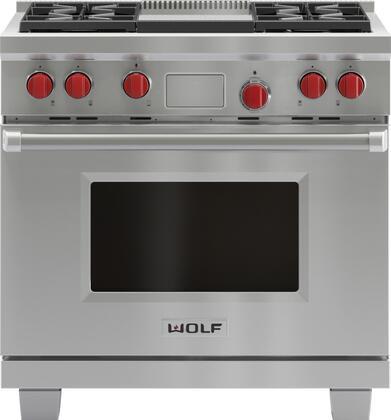 Wolf DF364G Freestanding Dual Fuel Range Stainless Steel, Main Image