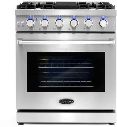 COS-EPGR304 30″ Freestanding Gas Range with 5 Italian Sealed Burners  4.5 cu. ft. Oven Capacity  Convection  Removable Backsplash  in Stainless