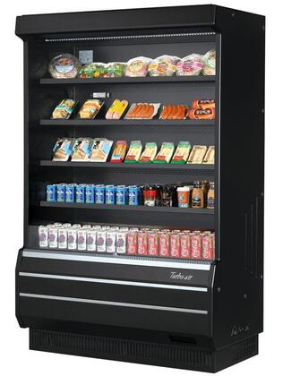 Turbo Air TOM50BSPAN Display and Merchandising Refrigerator Black, TOM50BSPAN Angled View