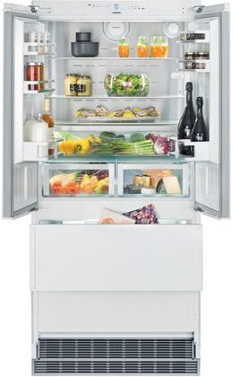 36″ French Door Refrigerator with 80″ Height Door Panels and Tubular Handles in Stainless