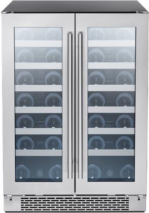 PRW24C32BG Dual Zone French Door Wine Cooler  21 bottles Capacity Each Side  6 Full-Extension Black Wood Racks with Stainless Steel Trim (each side)