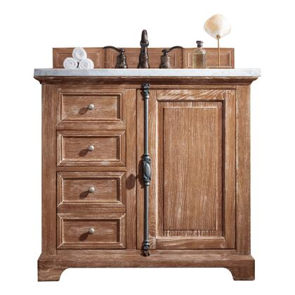 "Providence 238-105-5511-3AF 36"" Single Sink Vanity with 3CM Arctic Fall Solid Surface Top and Rectangular Sink in Driftwood"