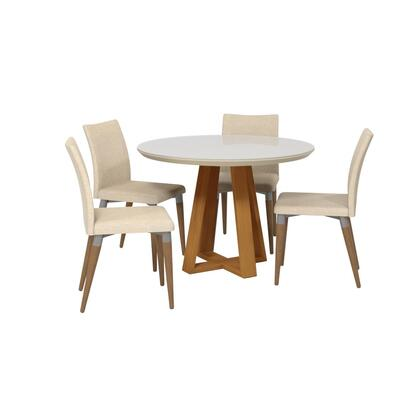 Duffy and Charles Collection 2-10185511011452 5 PC Dining Set with Contemporary Modern Style  Medium-Density Fiberboard (MDF) Frame  Pine Wood Feet
