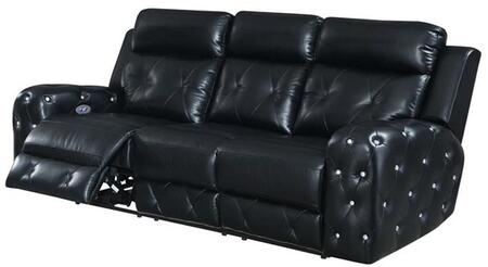 U8311-BLANCHE BLACK-PRS Power Reclining Sofa 87″ with Posh Crystal Tufted Arms and Leek Brushed Nickel Backlit Power Button with Built in USB