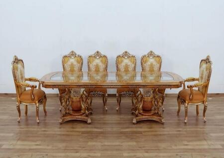 European Furniture Saint Germain 35550DTACSC Dining Room Set Brown, Main Image