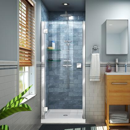 DL-533242-01 Lumen 32″ D x 42″ W by 74 3/4″ H Hinged Shower Door in Chrome with White Acrylic Base