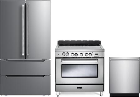 3 Piece Kitchen Appliances Package with VERF36CDSS 36″ French Door Refrigerator  VEFSEE365SS 36″ Electric Range  and VEDW24TSS 24″ Built In