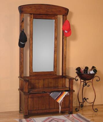 Santa Fe Collection 2537DC 78 Hall Tree Storage Under Seat  4 Railroad Spike Hooks And Mirror In Dark Chocolate